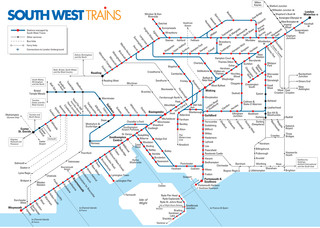Carte du reseau de train urbain South West Trains de Londres
