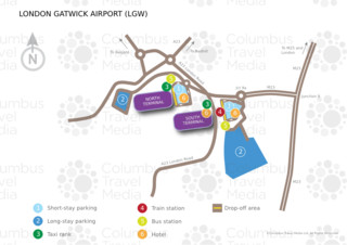 Carte du terminal et de l'aeroport London Gatwick (LGW)