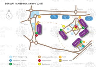 Carte du terminal et de l'aeroport London Heathrow (LHR)