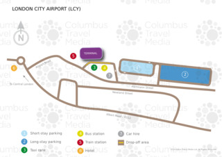 Carte du terminal et de l'aeroport London City (LCY)