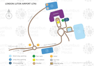 Carte du terminal et de l'aeroport London Luton (LTN)