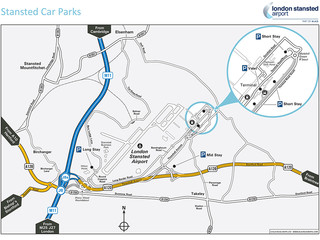 Carte du terminal et de l'aeroport London Stansted (STN)