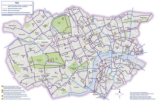 Carte des pistes cyclables de Londres
