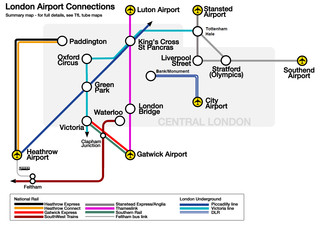 Carte des transports vers les aeroports Heathrow, Gatwick, Stansted, Luton, London City, Southend