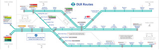 Carte du reseau de train urbain Docklands Light Railway (DLR) de Londres